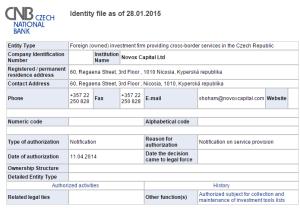 A false registration with CNB
