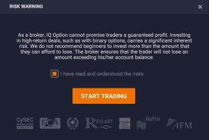 iqoption Aviso de riscos