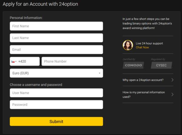 24Option registration form
